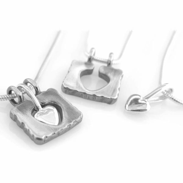 """Embrace my Heart"" sterlingsilver necklaces, handcrafted by GULDVIVA goldsmith."