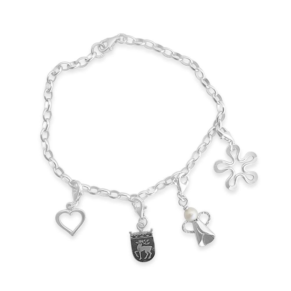 Sterling silver bracelet with removable charms, handcrafted by GULDVIVA