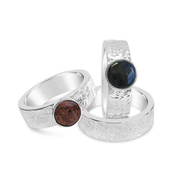 """Björk"" silver rings with spectrolite or red granite, hancdrafted from recycled silver by GULDVIVA"