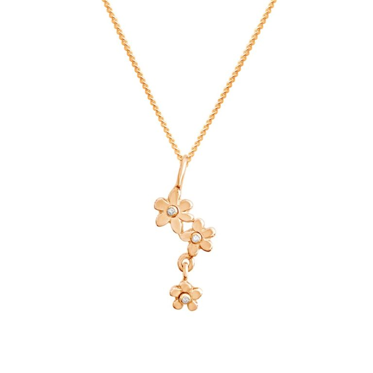 Forget me not 18K gold pendant with diamonds, handcrafted by GULDVIVA