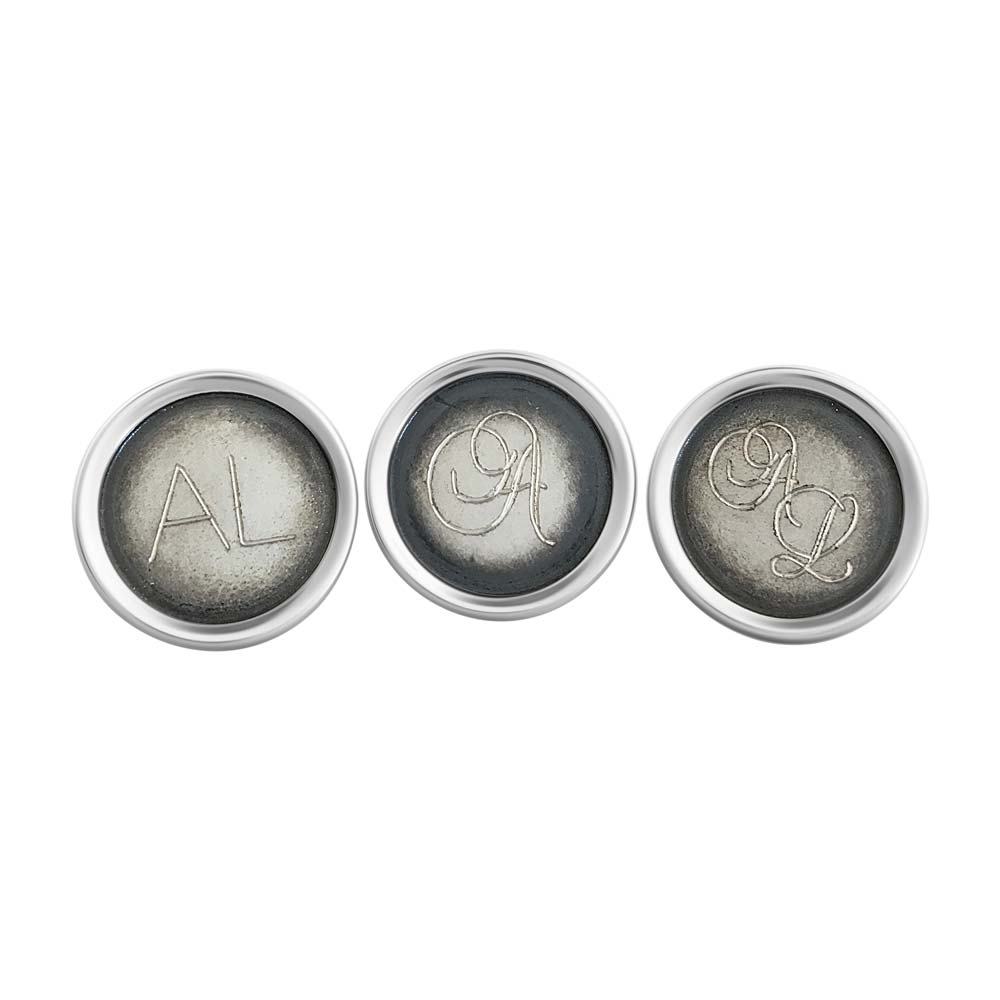 """Cuff links, """"Alfa"""", engraving samples. Handcrafted by GULDVIVA."""