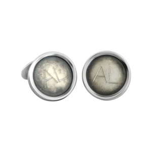 "Cuff links, ""Alfa"", in oxidized sterling silver. Handcrafted by GULDVIVA."
